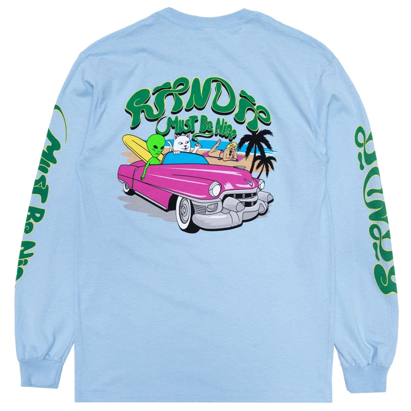 RIPNDIP Nermrider Beach Longsleeve T-Shirt Baby Blue