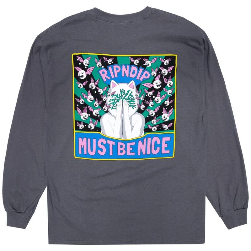 RIPNDIP Overthinking Longsleeve T-Shirt Charcoal