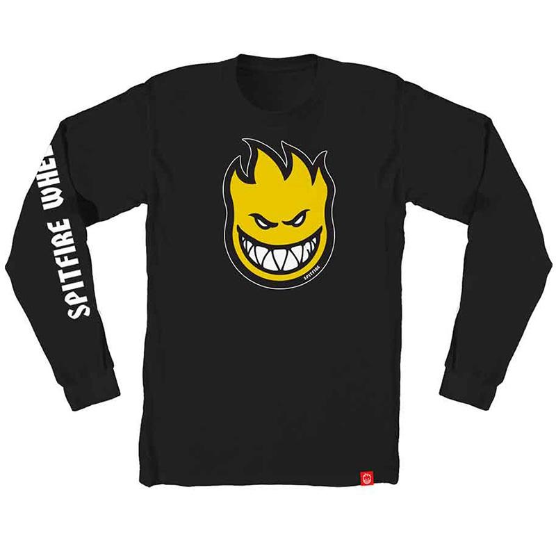 Spitfire Bighead Fill Hombre Longsleeve T-Shirt Black /Yellow/White