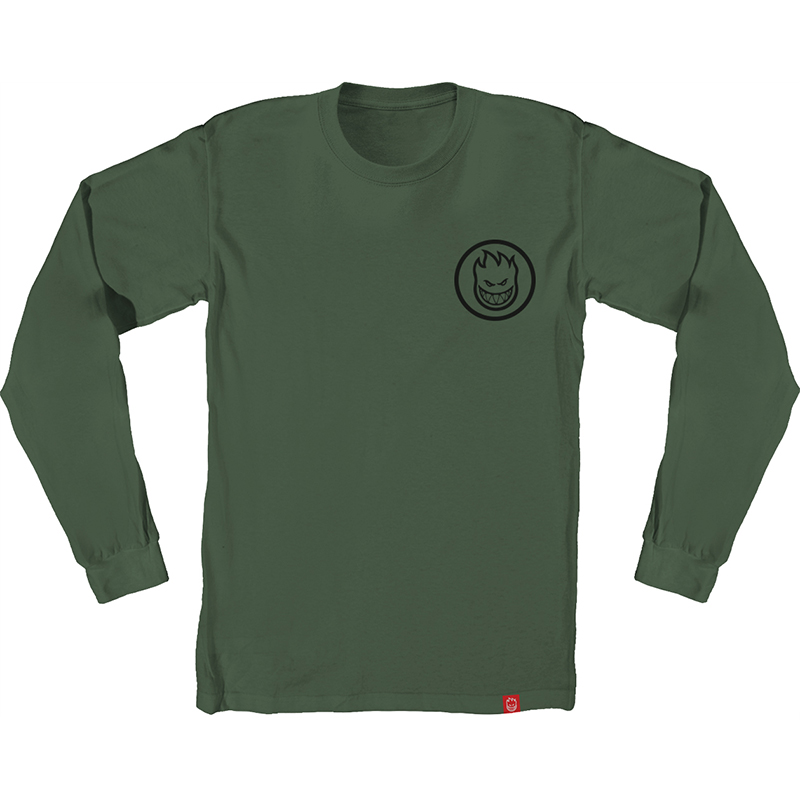 Spitfire Classic Swirl Longsleeve T-Shirt Military Green/Black