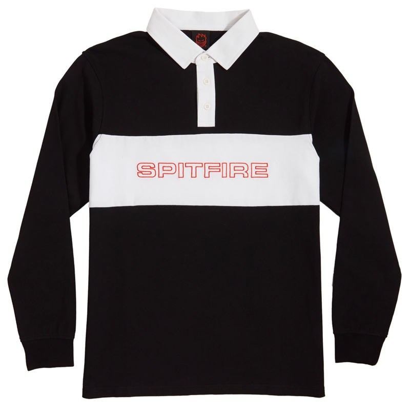 Spitfire Geary Longsleeve Rugby Shirt Black/White