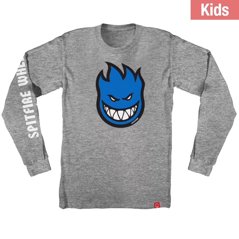 Spitfire Kids Bighead Fill Hombre Longsleeve T-Shirt Athletic Heather /Blue/White