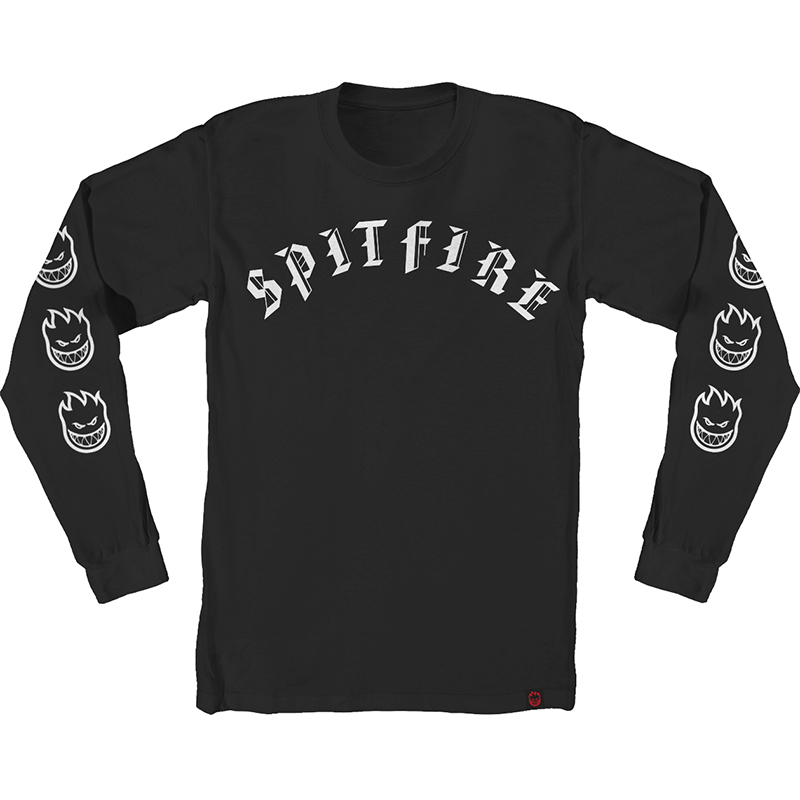 Spitfire Old E Longsleeve T-Shirt Black/White
