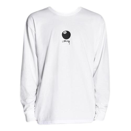 Stussy 8 Ball Stock Longsleeve T-shirt White