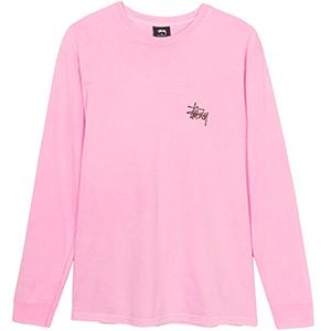 Stussy Basic Stussy Pig. Dyed Longsleeve T-Shirt Pink