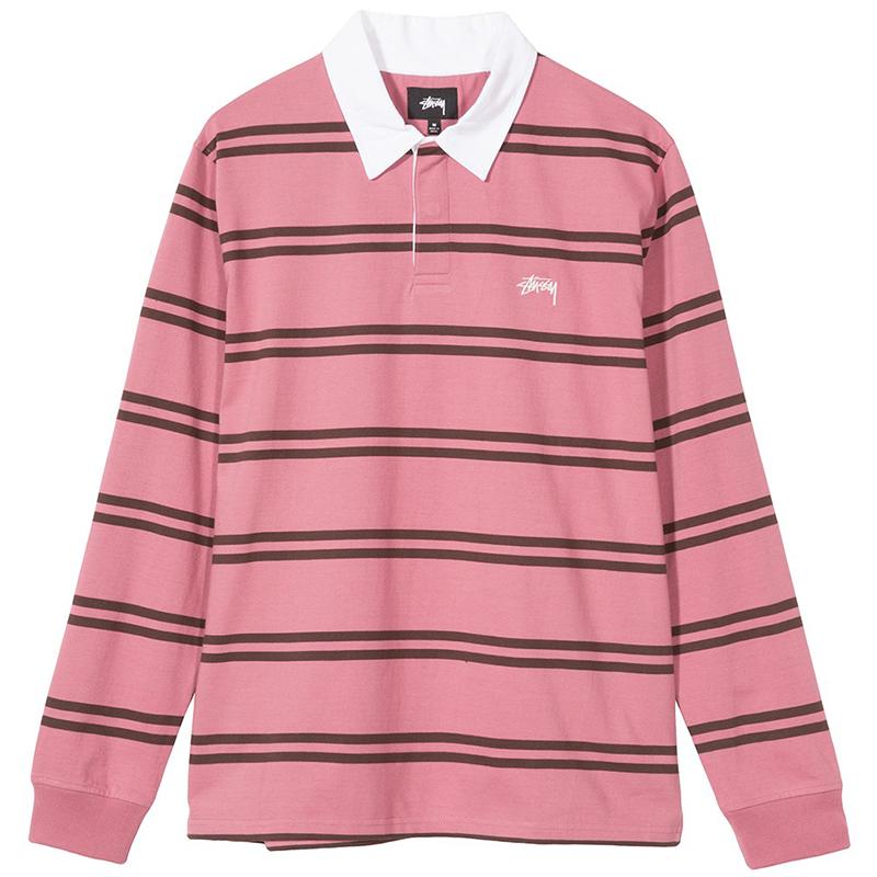 Stussy Desmond Stripe Rugby Longsleeve Shirt Pink