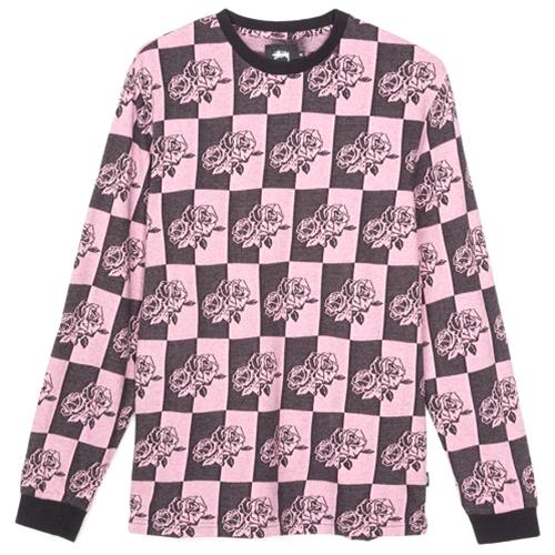 Stussy Rose Block Jacquard Longsleeve T-Shirt Pink
