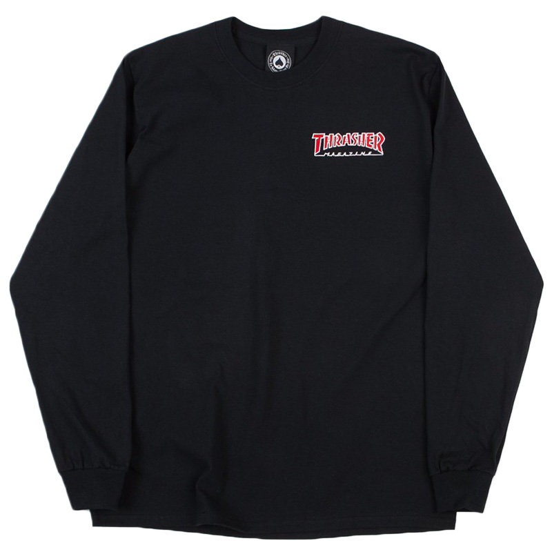 Thrasher Embroidered Outlined Longsleeve T-Shirt Black