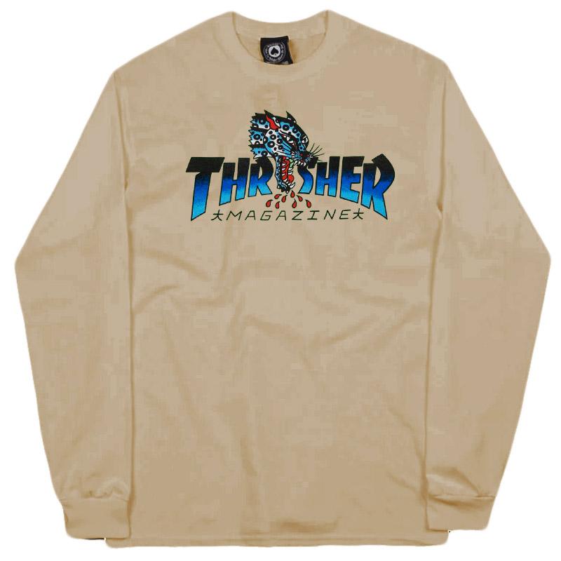 Thrasher Leopard Mag Longsleeve T-Shirt Sand