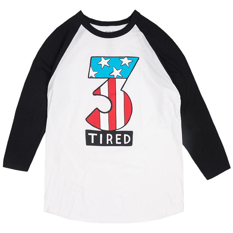 Tired Number Three Longsleeve Baseball T-Shirt White/Black