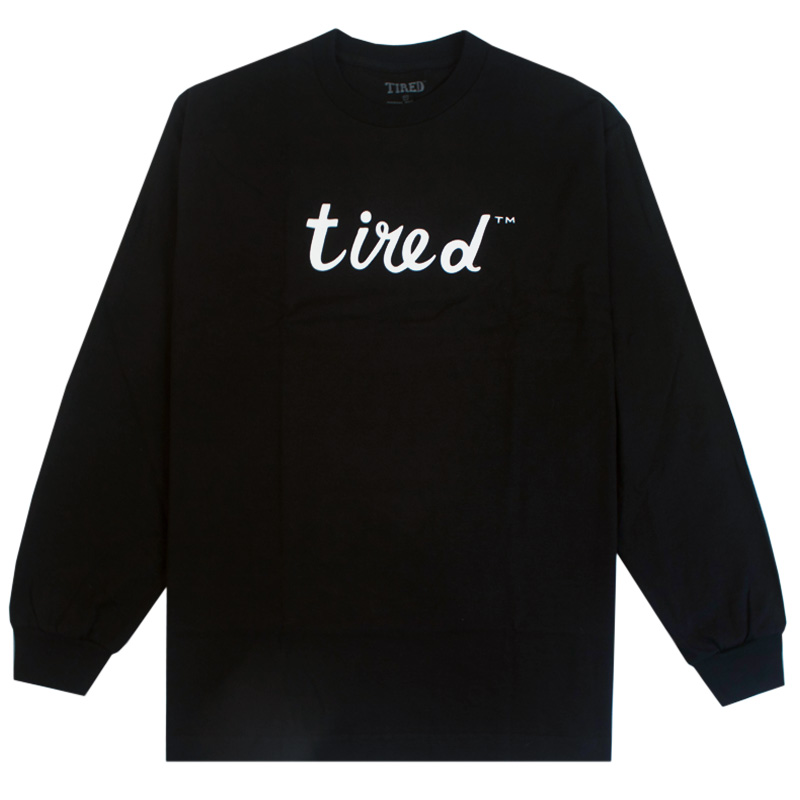 Tired Script Longsleeve T-Shirt Black