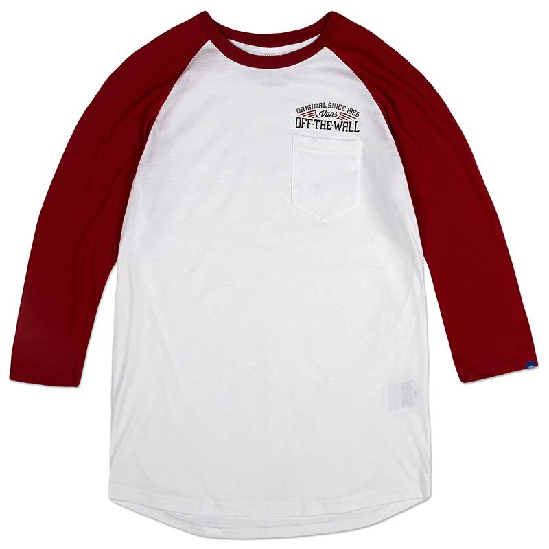 Vans Since 66 Raglan Longsleeve T-shirt  White/Red Dahlia
