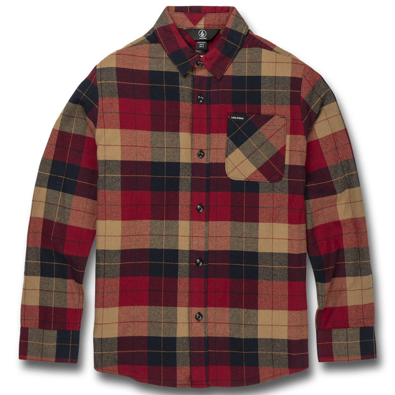 Volcom Caden Plaid Longsleeve Shirt Rio Red