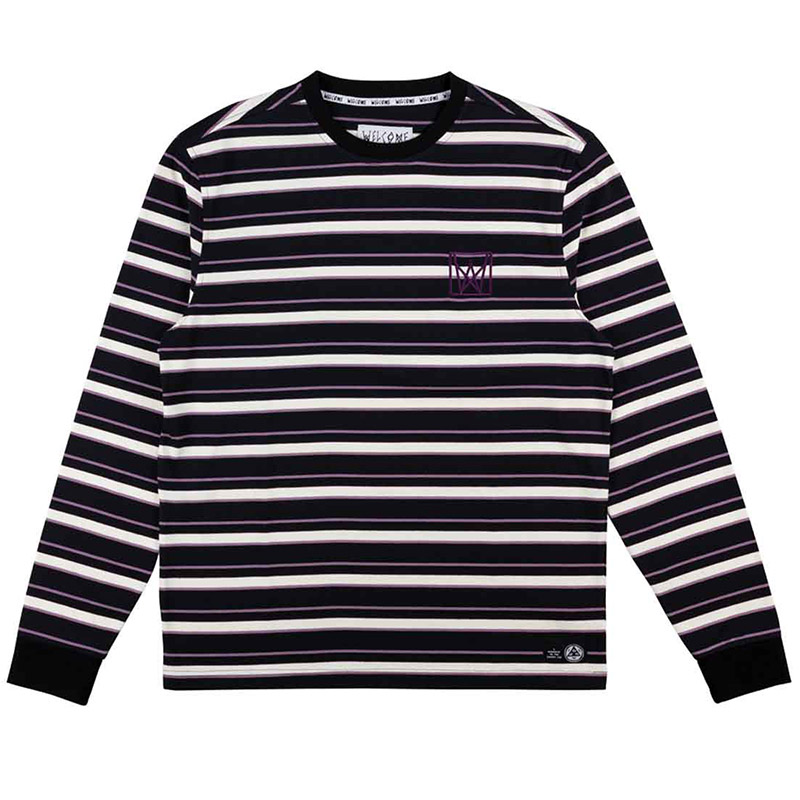 Welcome Icon Stripe Longsleeve T-Shirt Black/Grape