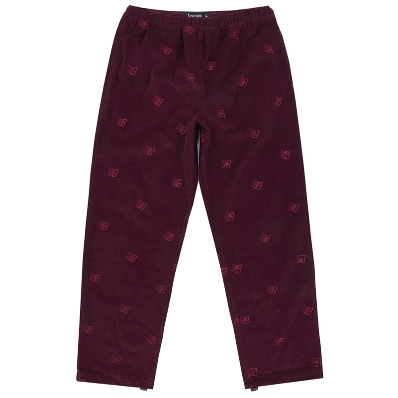 BRONZE 56K Allover Embroidered Pants Maroon
