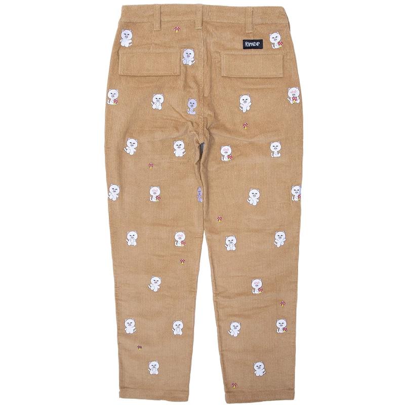 RIPNDIP Hello Nermy Corduroy Embroidered Pants Tan