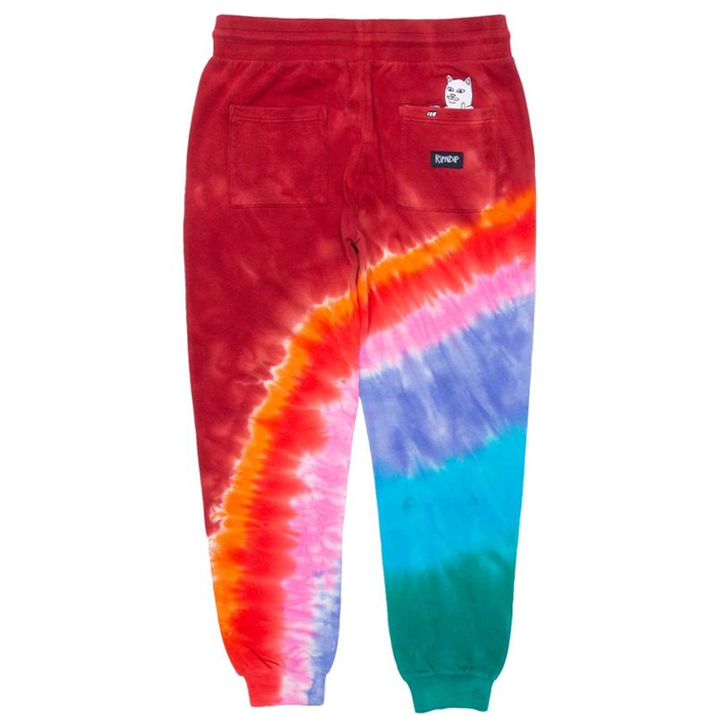 RIPNDIP OG Prisma Embroidered Art Sweatpants Red Tie Dye