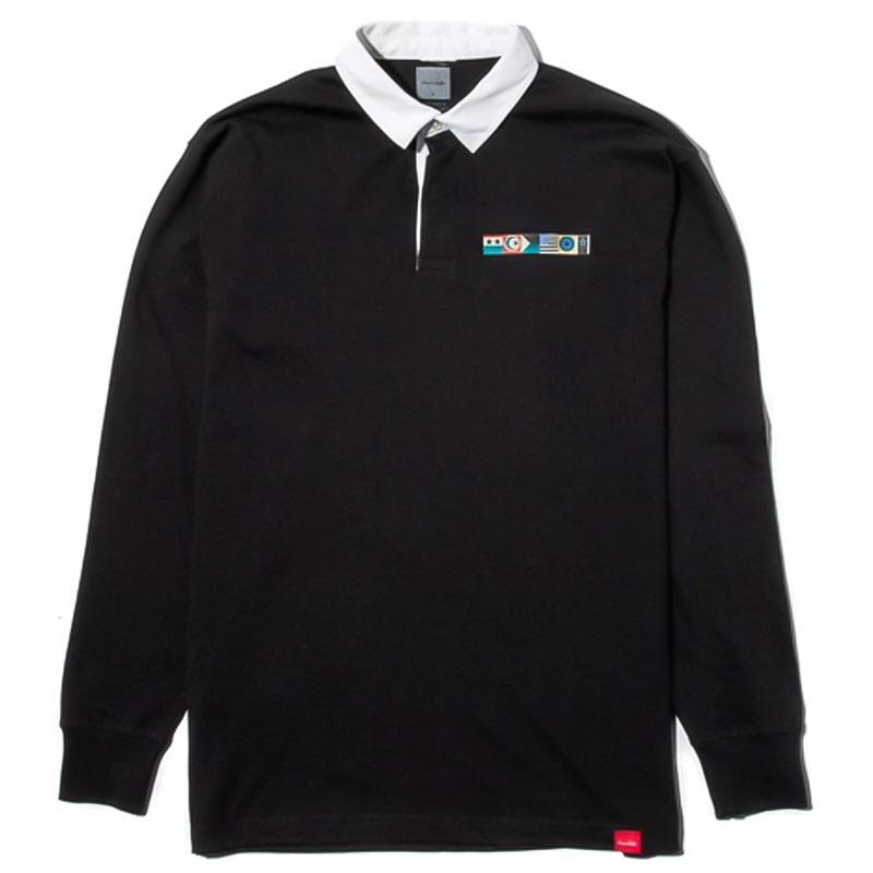 Chocolate Giant Flag Longsleeve Rugby Shirt Black