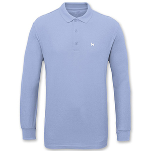 Crailtap Embroidered Goat Longsleeve Polo Light Blue