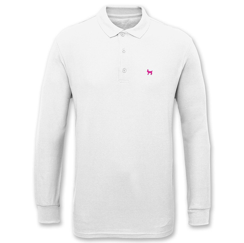 Crailtap Embroidered Goat Longsleeve Polo White