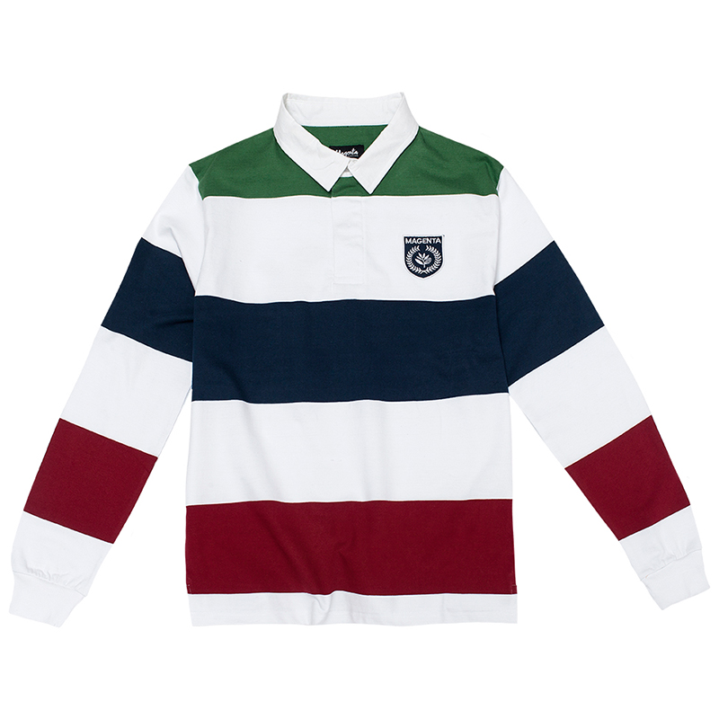 Magenta Rugby Longsleeve Polo Green/White/Navy/Red