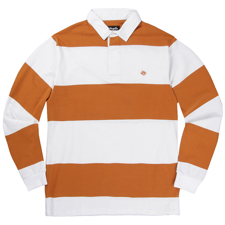 Magenta Rugby Longsleeve Polo White/Orange