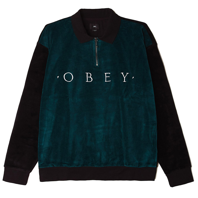 Obey Avenue Zip Longsleeve Polo Black Multi