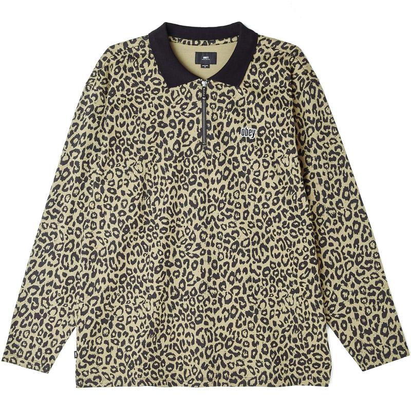 Obey Gimme Classic Longsleeve Polo Khaki Leopard