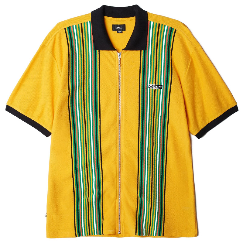 Obey Kelly Classic Zip Polo Energy Yellow Multi