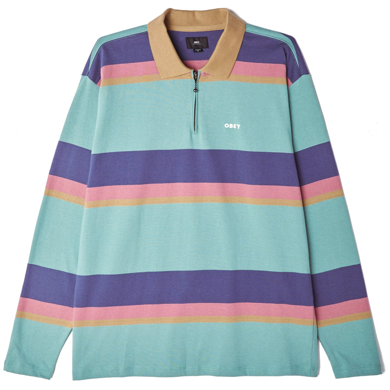 Obey Structure Longsleeve Polo Oil Blue Multi
