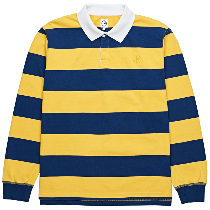 Polar Block Stripe Longsleeve Polo Navy/Yellow