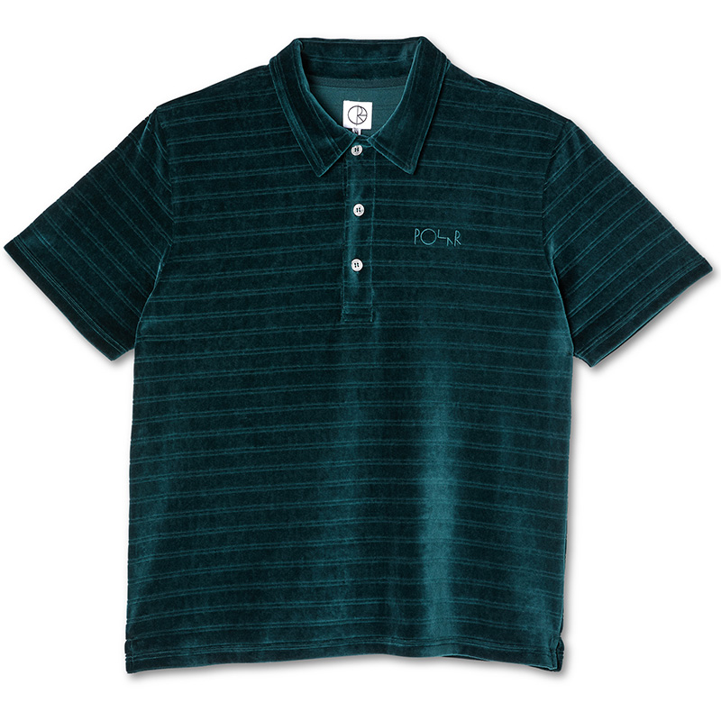 Polar Stripe Velour Polo Shirt Dark Green