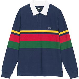 Stussy Lucas Stripe Longsleeve Rugby Shirt Navy