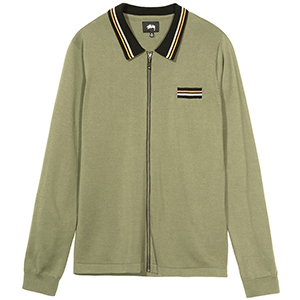Stussy Perry Zip Longsleeve Polo Knit Olive