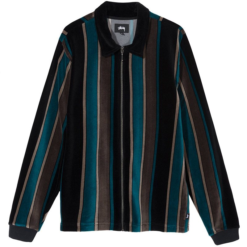 Stussy Roland Stripe Longsleeve Full Zip Polo Black