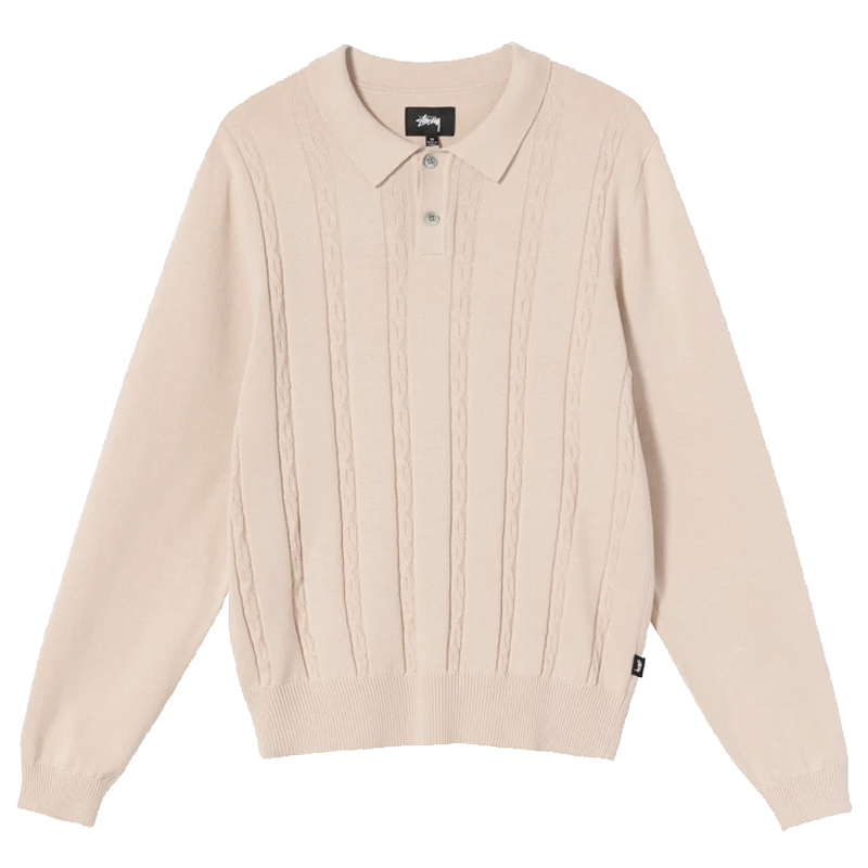 Stussy S Chain Longsleeve Knit Polo Bone