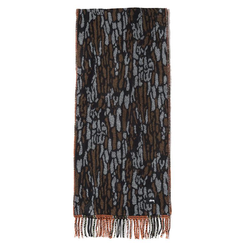 Stussy Tree Bark Wool Scarf Brown