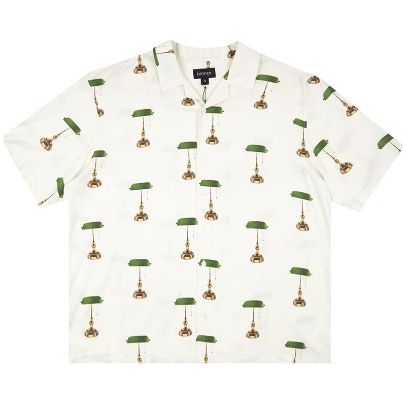 BRONZE 56K Bankers Lamp Rayon Shirt White