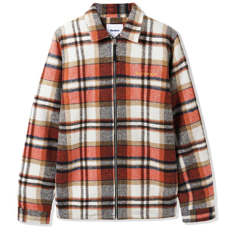 Butter Goods Flannel Plaid Overshirt Natural/Rust/Brown