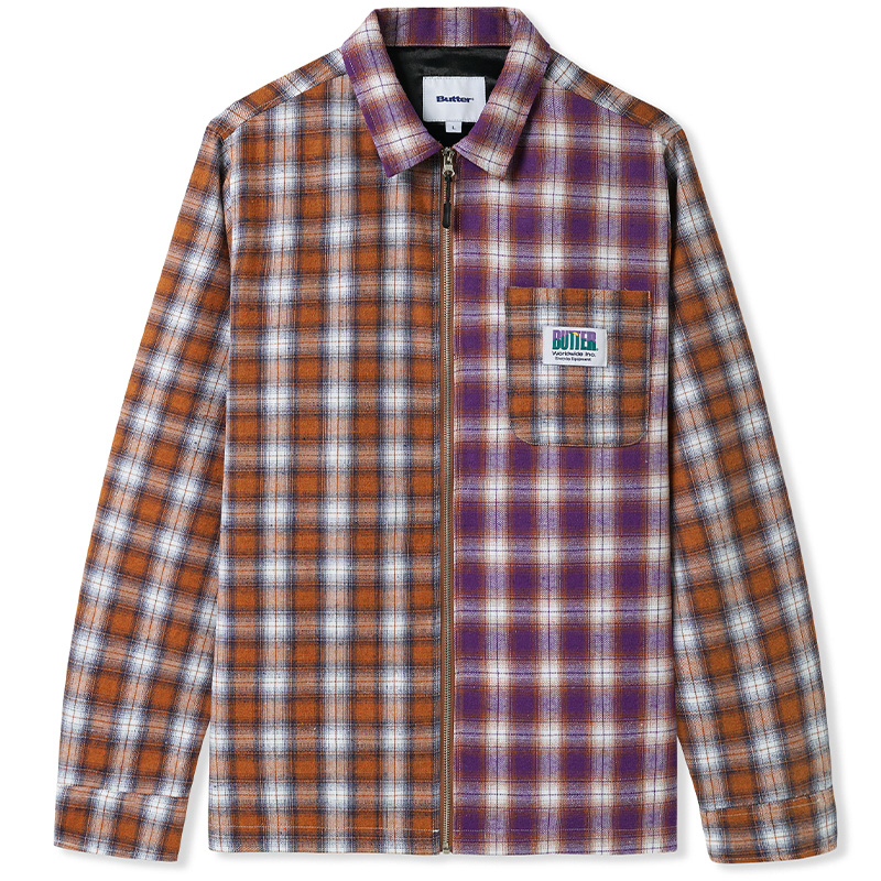 Butter Goods Patchwork Plaid Overshirt Jacket Brown/Purple