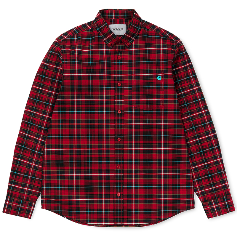 Carhartt Patton Shirt Patton Check Blast Red/Soft Teal