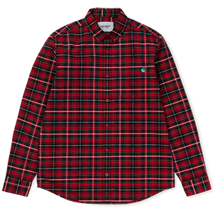 Carhartt Patton Shirt Patton Check Blast Red/Soft Teal