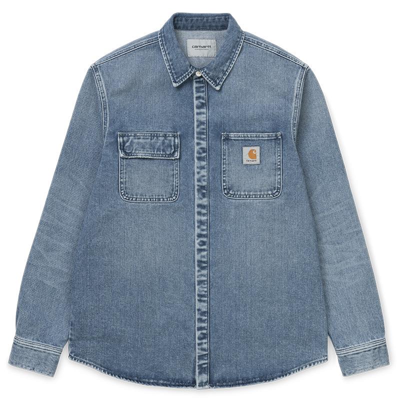 Carhartt WIP Salinac Shirt Jacket Blue Worn Bleached