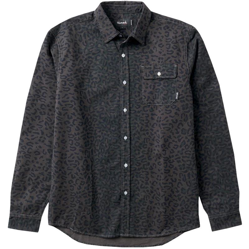 Diamond Cheetah Longsleeve Woven Shirt Black