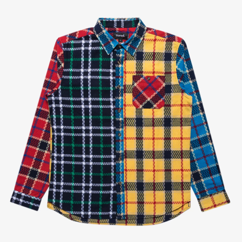 Diamond Juxtaposed Plaid Shirt Multi