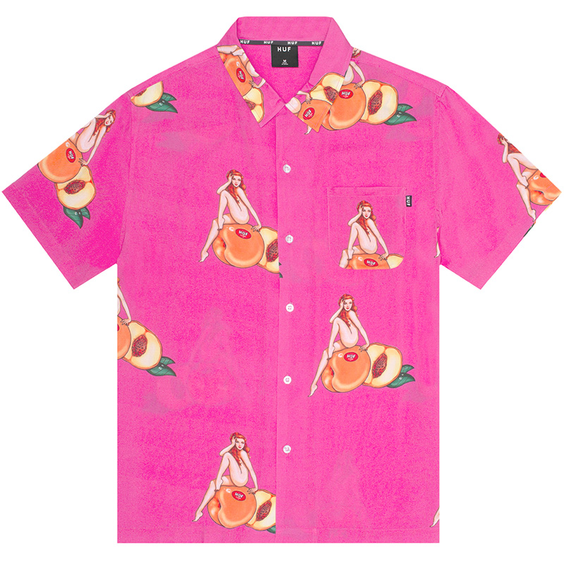 HUF Peachy Woven Shirt Fuchsia