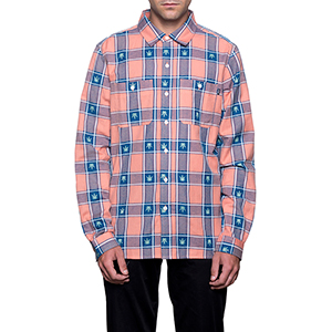 HUF Plantlife Plaid Longsleeve Shirt Smoked Peach