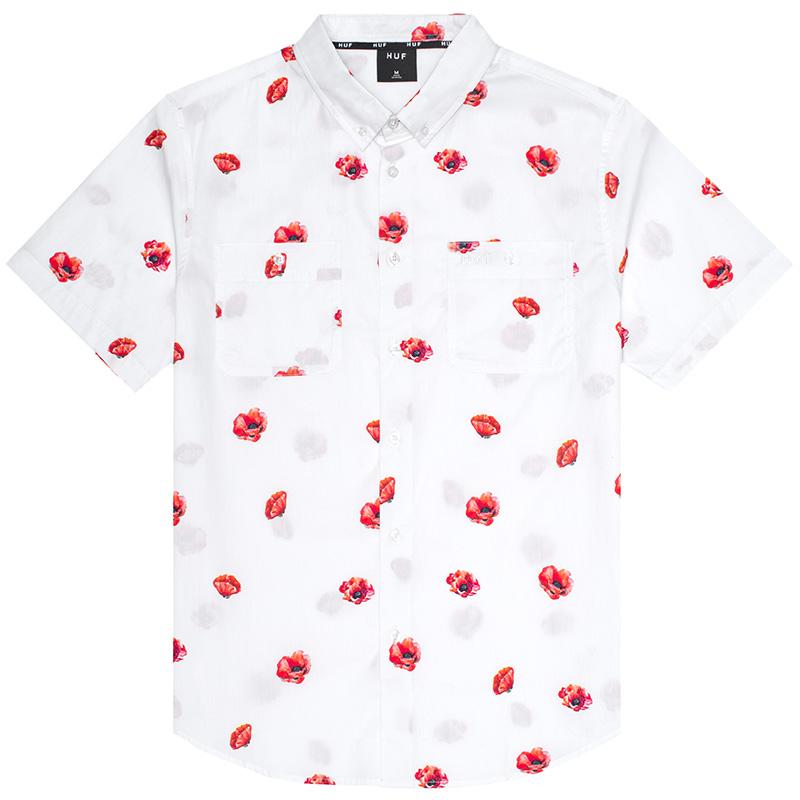 HUF Poppy Woven Shirt White