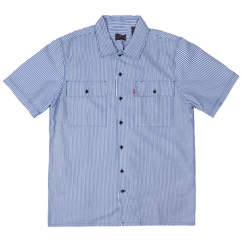 Levi's Shortsleeve Shirt Seersucker Blue White