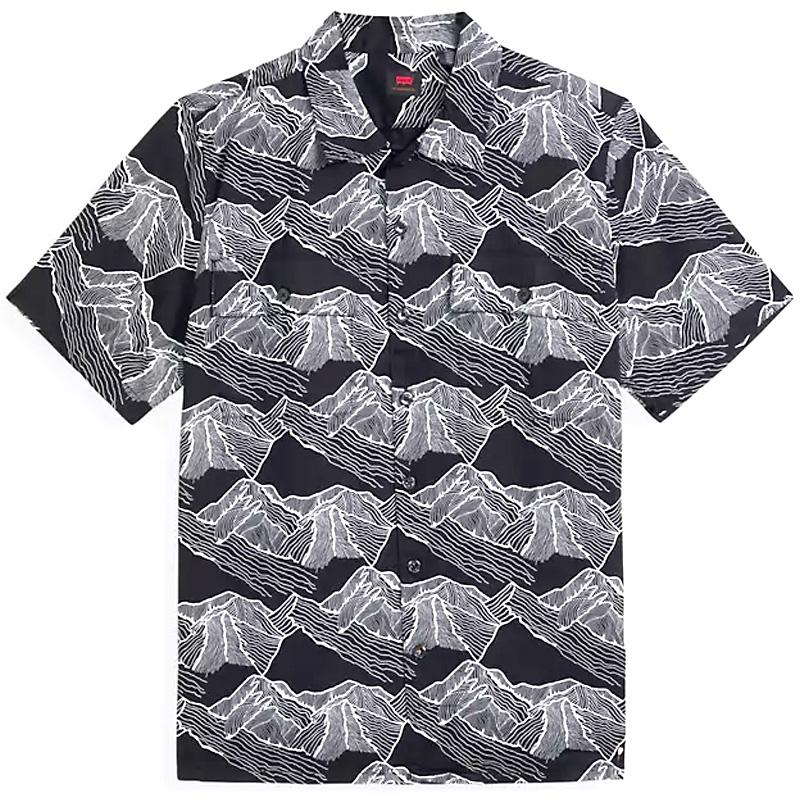 Levi's Skate Button Down Shirt Mountainlineprint Small Black